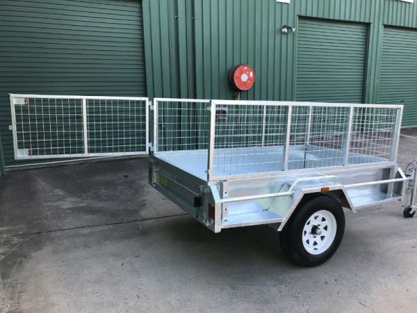 7 x 4 ft Box Trailer - cage door open