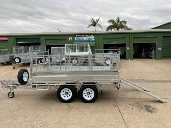 10 x 6ft Flat Deck Trailer with Cage and Ramps