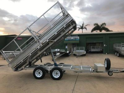 14 x 7ft Flat Deck Hydraulic Tipping Trailer