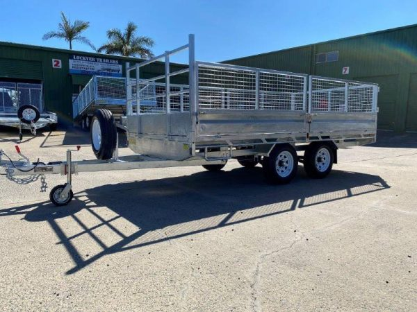 14 x 7ft Flat Deck Trailer with Cage and Ramps